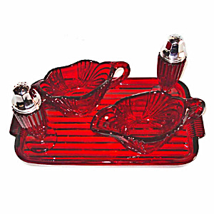 New Martinsville Ruby Queen Anne Crystal Eagle 5 Piece Table Service Set (Image1)