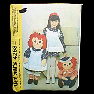 Mccall's 1974 Raggedy Ann Andy 36 Inch Dolls Sewing Pattern Uncut