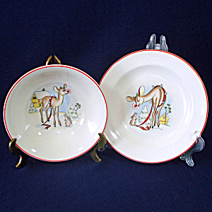 Rudolph Red Nose Reindeer Childs Christmas Dishes Set 1950s