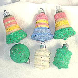 1950s Colored Glitter Mica Bells Lanterns Christmas Ornaments (Image1)