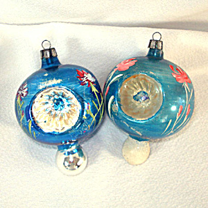 Poland Fancy Painted Flower Triple Indent Glass Christmas Ornaments (Image1)