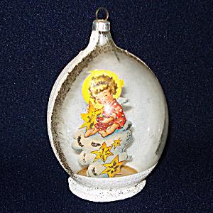 Angel Paper Scrap Scene Inside Glass Egg Christmas Ornament (Image1)