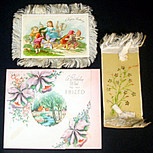 Victorian Fringed Birthday Card and Celluloid Bookmark (Image1)