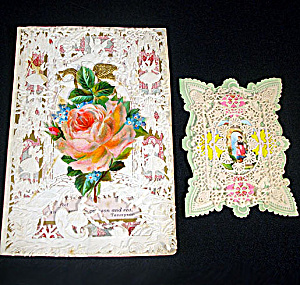 2 Victorian Paper Lace Overlay Valentine Cards (Image1)