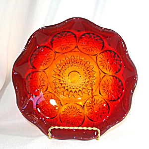 Amberina Hobstar Glass Fruit Bowl (Image1)