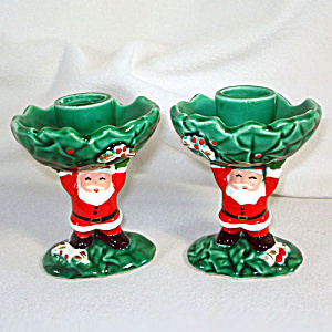 Pair Napco Santa Claus and Holly Christmas Candlesticks (Image1)