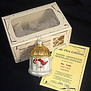 Inge 1983 Bird in Birdcage Glass Christmas Ornament Mint in Box (Image1)