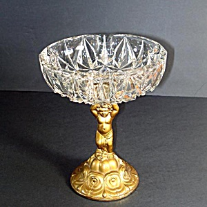 Heavy Crystal Ashtray Mounted on Metal Cherub Base (Image1)