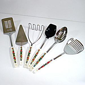 6 Piece Spice Of Life Kitchen Utensils Lot Corning Go-withs