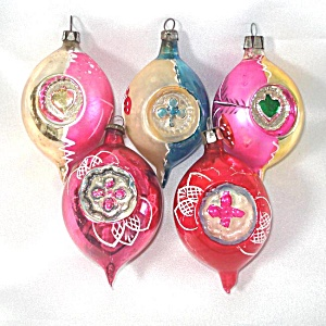 5 Poland Embossed Flat Indent Glass Christmas Ornaments