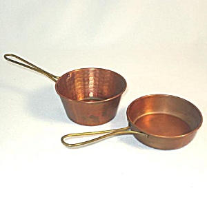 Miniature Toy Copper Skillet and Saucepan Pot (Image1)