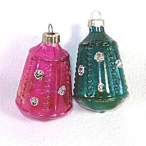2 Unsilvered Christmas War Ornaments Beaded Paneled Space Capsules (Image1)