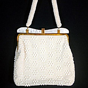 1960s White Fused Bead Mesh Purse With Lucite Frame