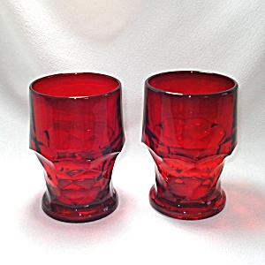 Pair Viking Ruby Red Georgian 12 Ounce Glass Tumblers