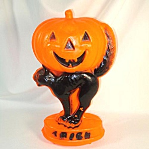 Black Cat Jack O Lantern Halloween Blow Mold Decoration (Image1)