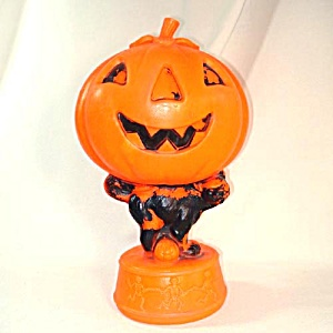 Halloween Blow Mold Decoration With Black Cat, Pumpkin, Skeletons