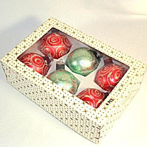 Box Large West Germany Glitter Swirl Glass Christmas Ornaments (Image1)
