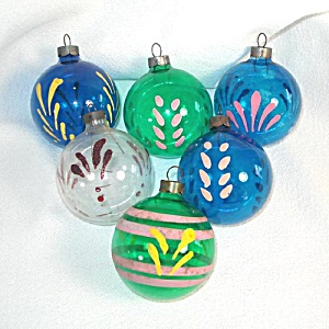 6 WWII Unsilvered Hand Painted Glass Christmas War Ornaments (Image1)