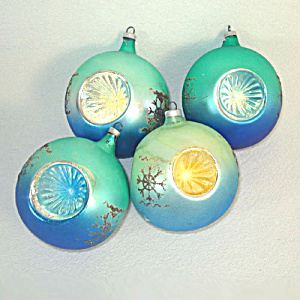 4 Austrian Green Blue Yellow Triple Indent Christmas Ornaments (Image1)