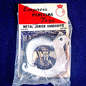 Junior Police Handcuffs 1950s Japan Toy Mint in Package (Image1)