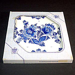 Boxed West Germany Blue Danube Floral Tile Trivet (Image1)
