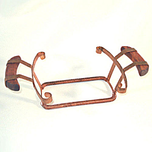 Expanding Copper And Wood Casserole Holder Cradle (Image1)