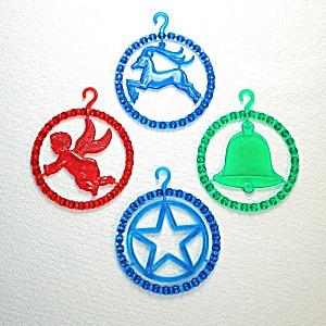 1940s Plastic Beaded Rings Christmas Ornaments