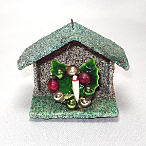Mica Encrusted Cardboard Stable 1950s Christmas Ornament