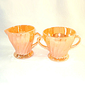 Fire King Peach Luster Shell Swirl Creamer and Sugar (Image1)