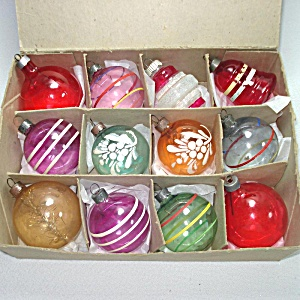 Box 1940s Unsilvered Glass Christmas War Ornaments
