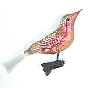 Antique Pink Gold Clip Bird Christmas Ornament Spun Glass Tail (Image1)