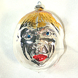 West Germany 3 Face Man Glass Christmas Ornament (Image1)