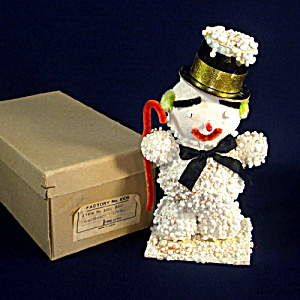 1950s Japan 7 Inch Boxed Composition Snowman Christmas Figure (Image1)