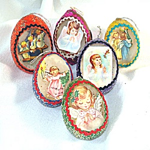 6 Real Eggshell Angel Theme Diorama Christmas Ornaments (Image1)