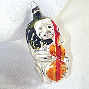 Lion Playing Cello German Glass Christmas Ornament (Image1)