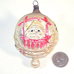 German Santa in Window Glass Christmas Ornament (Image1)