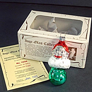 Inge Glass 1983 Clown on Ball Christmas Ornament Mint in Box (Image1)