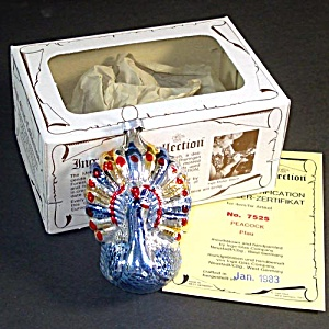 Blue Peacock Inge Glass Christmas Ornament Mint in Box (Image1)