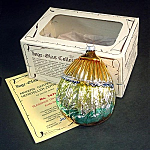 Inge Harvest Blessings 1983 Glass Christmas Ornament Mint in Box (Image1)