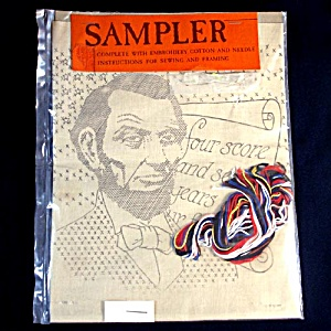 Abraham Lincoln Four Score Vintage Embroidery Sampler Kit (Image1)