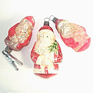 3 Antique German Santa Claus Glass Christmas Ornaments (Image1)