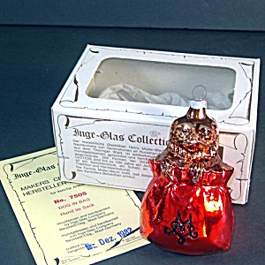 Inge Dog in Bag 1982 Glass Christmas Ornament Mint in Box (Image1)