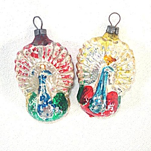 2 German Flat Peacocks Glass Christmas Ornaments (Image1)