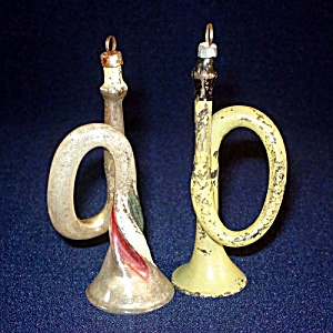 2 Antique Free Blown Glass Horn Christmas Ornaments (Image1)