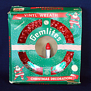 Gemlites 1950s Red Cellophane Lighted Christmas Candle Wreath