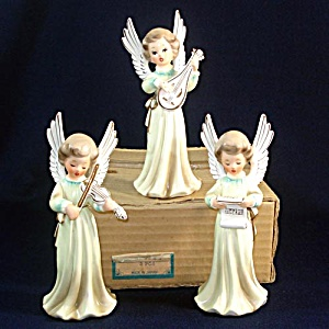 Boxed Set Ceramic 1950s Japan Musical Angel Figurines (Image1)