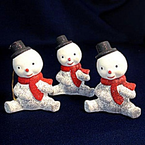 3 Composition 1950s Snowman Christmas Ornaments (Image1)