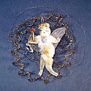 Chenille Wired Tulle Wings Angel in Wire Wreath Christmas Ornament (Image1)