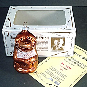 Inge Monkey Glass Christmas Ornament Mint in Box (Image1)
