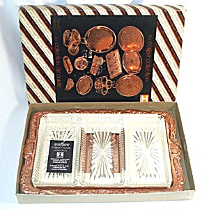 Copper and Glass Relish Serving Tray In Original Box (Image1)